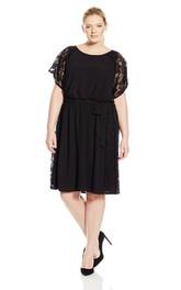 Short-sleeved A-line Short Mini Lace Dress