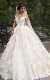 Ball Gown Mini Jewel Bell Illusion Beading Appliques Flower Illusion Flower Chapel Train Button Illusion Tulle Lace Dress