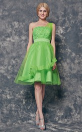 One Shoulder Appliqued Short Tulle Dress With Tiers