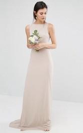 Sheath Floor-Length Jewel Neck Sleeveless Bowed Chiffon Bridesmaid Dress