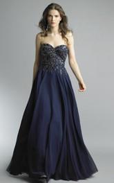 A-line Floor-length Sweetheart Sleeveless Chiffon Backless Dress