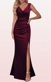 Satin Sleeveless V-neck Sheath Prom Dress With Split Front and Ruching