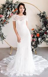 Elegant Bateau Lace Sheath Short Sleeve Floor-length Court Train Wedding Dress with Appliques
