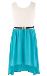 Sleeveless High-low Dress With Lace and Belt