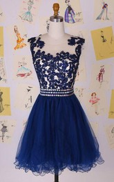 Elegant Illusion Cap Sleeve Short Cocktail Dress With Appliques Beadings