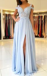 Chiffon Lace Floor-length A Line Short Sleeve Elegant Formal Dress with Pleats