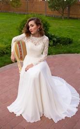 Long Sleeve Chiffon Lace Satin Weddig Dress