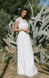 Simple Bridal Gown With Sweep/Brush Train