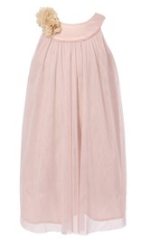 Sleeveless A-line Pleated Dress With Flowers