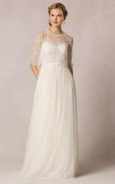 Sheath Lace Half-Sleeve Long Scoop-Neck Tulle Wedding Dress