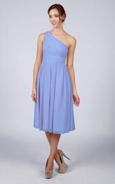One Shoulder Pleated A-line Chiffon Tea Length Dress Kingfisher Blue