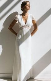 Casual V-neck Sheath Empire Floor-length Sweep Train Short Sleeve Wedding Dress With Lace