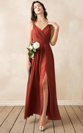 Romantic V-neck A Line Sleeveless Ankle-length Chiffon Bridesmaid Dress With Ruching