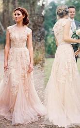 High Quality V-neck Sleeveless Floor-length Wedding Dress with Lace