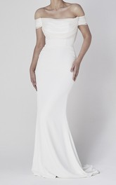 Off-the-shoulder Sheath Elegant Satin Wedding Gown With Tiers And V-back