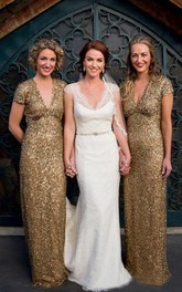 Sheath Floor-length Dress with Allover Sequins and V-neck