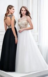 Sleeveless Scoop Neck Crystal Satin Prom Dress With Keyhole