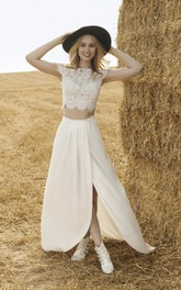 Two-piece Front Split Short Sleeve Wedding Dress With Lace Top And Chiffon Skirt