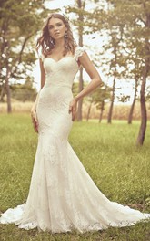 Open Back Cap Sleeve And Buttons Sweetheart Mermaid Lace Wedding Dress