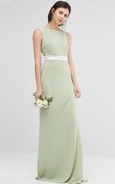 Sheath Jewel-Neck Floor-Length Sleeveless Chiffon Bridesmaid Dress With Ribbon And V Back