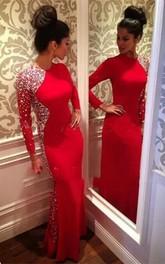 Glamorous Crystals Mermaid Jewel Evening Dress Red Long Sleeve