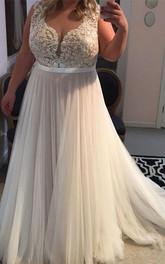A-Line Lace Tulle Jewel Short Sleeve Zipper Dress