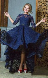 3-4 Sleeve High Neck High Low Lace Dress With Keyhole Back