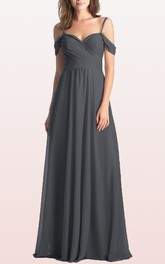 Off-the-shoulder A Line Sleeveless Floor-length Chiffon Bridesmaid Dress With Criss Cross