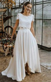 Bohemian Bateau Satin and Lace Two Piece Floor-length Short Sleeve Wedding Dress with Pleats