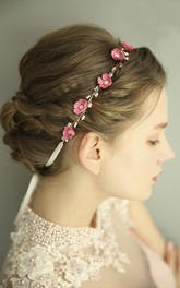 Forest Style Fairy Pink Metal Rosette Headdress