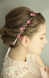 Forest Style Fairy Pink Metal Rosette Headdress
