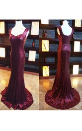 Mermaid Straps Sleeveless Sequins Sheath Dress