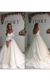 Long Sleeve Off the Shoulder V Neck A Line with Appliques Bridal Gowns