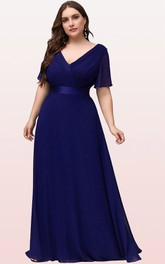 Romantic Chiffon V-neck Half Sleeve A Line Formal Dress With Criss Cross and Ruching