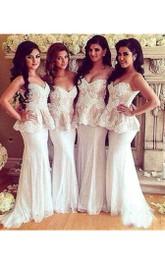 Mermaid Sweetheart Sleeveless Appliques Brush Train Zipper Tulle Lace Dress