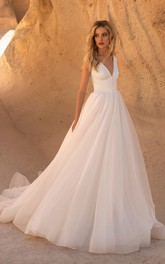 Sleeveless V-neck With Button Details And V-back Tulle A-line Wedding Dress