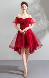 Strapless Short Sleeve High-Low Dress with Corset Back