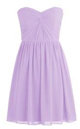 Simple Strapless Sweetheart Drapped Chiffon Short Dress