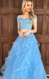 Tulle Floor-length Two Piece Sleeveless Adorable Evening Dress with Appliques