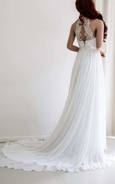 Lace Appliqued Haltered Empire Chiffon Pleated Wedding Dress With Sweep Train