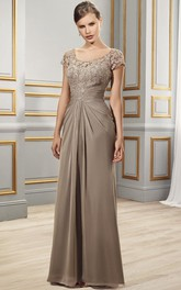 Sheath Appliqued Short-Sleeve Scoop Floor-Length Chiffon Formal Dress With Illusion Back And Draping