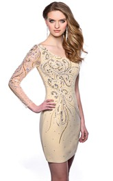 One-Shoulder Column Short Jersey Homecoming Dress With Crystal Detailing