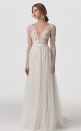 Ethereal V-neck Lace Tulle A Line Long Sleeve Floor-length Sweep Train Wedding Dress with Appliques