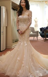 Designer Open Back Sheer Flowers Long Sleeve Mermaid Wedding Dress