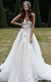 Lace Tulle Court Train Ball Gown Sleeveless Modern Wedding Dress with Appliques