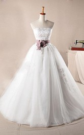 A-Line Ball Gown Long Off-The-Shoulder One-Shoulder Straps Sleeveless Bell Bow Appliques Lace-Up Back Straps Lace Organza Dress