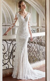 Sheath Maxi V-Neck 3-4-Sleeve Lace Wedding Dress With Appliques And Backless Design