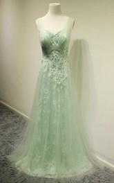 Sleeveless V-neck A-line Pleats Lace Tulle Dress