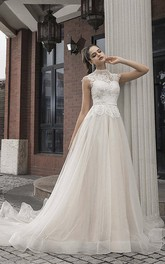 Vintage Lace Tulle High Neck Cap Sleeve Bridal Gown With Button Back