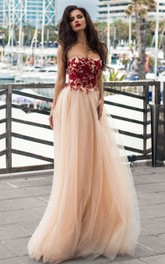 Ethereal Strapless Lace Tulle A Line Sleeveless Floor-length Prom Dress with Appliques